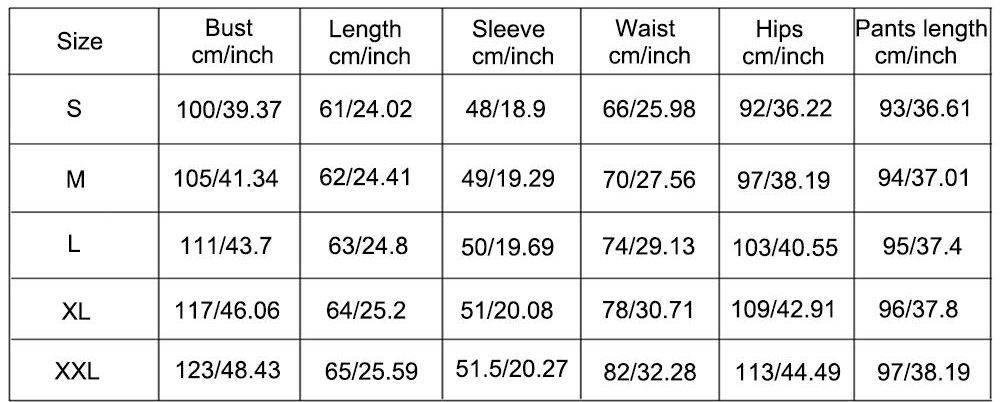Size Chart for Women's Christmas Pajamas Set