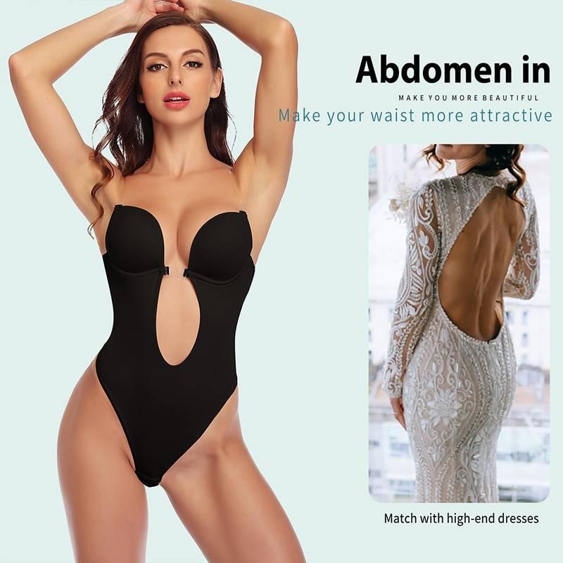 Women Shapewear Faja Waist Trainer Shaper Body Tummy Shaper Deep V Bodysuit Clear Strap Backless Plunge Thong Push Up padded Bra
