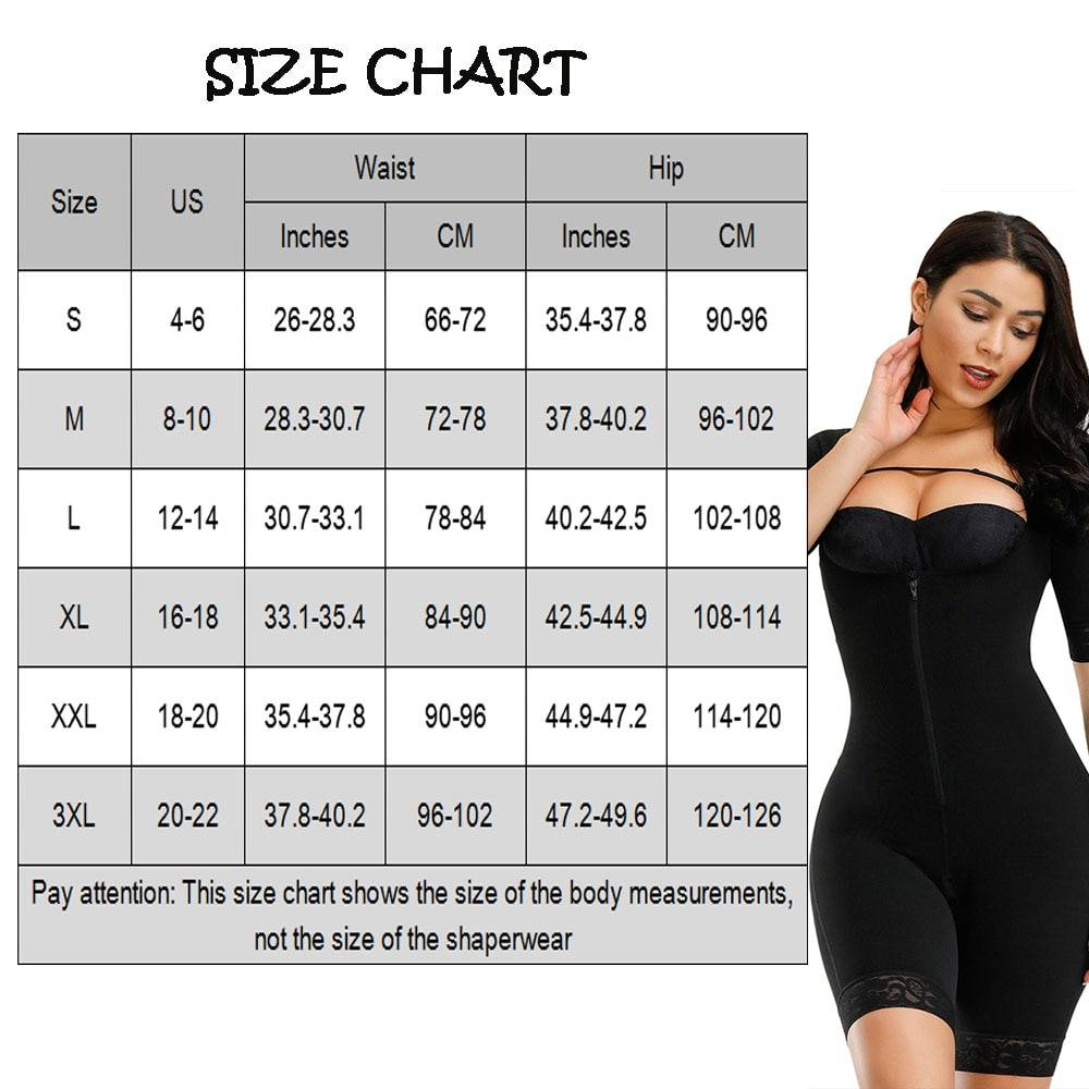 FeelinGirl Women Slimming Full Body Shaper Zipper Tummy Waist Trainer Short Arm Shapers Underbust Postpartum Recovery Shapewear