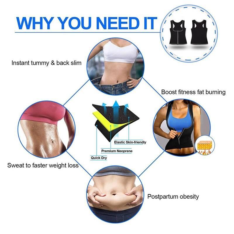 Junlan Women Reducing Sauna Vest with Zipper Neoprene Tummy Control Waist Trainer Shaping Tops Body Slimming Shapers Fat Burning