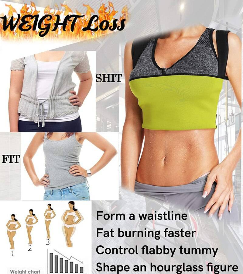 Neoprene Sweat Waist Trainer Vest for Weight Loss Women Slimming Shirt Body Shaper with Sauna Suit Effect