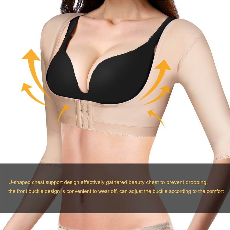 Junlan Women Arms Slimming Shaping Tops for Back Fat Reducing Hooks Body Control Shapers High Elastic Bust Lifter Shapewear