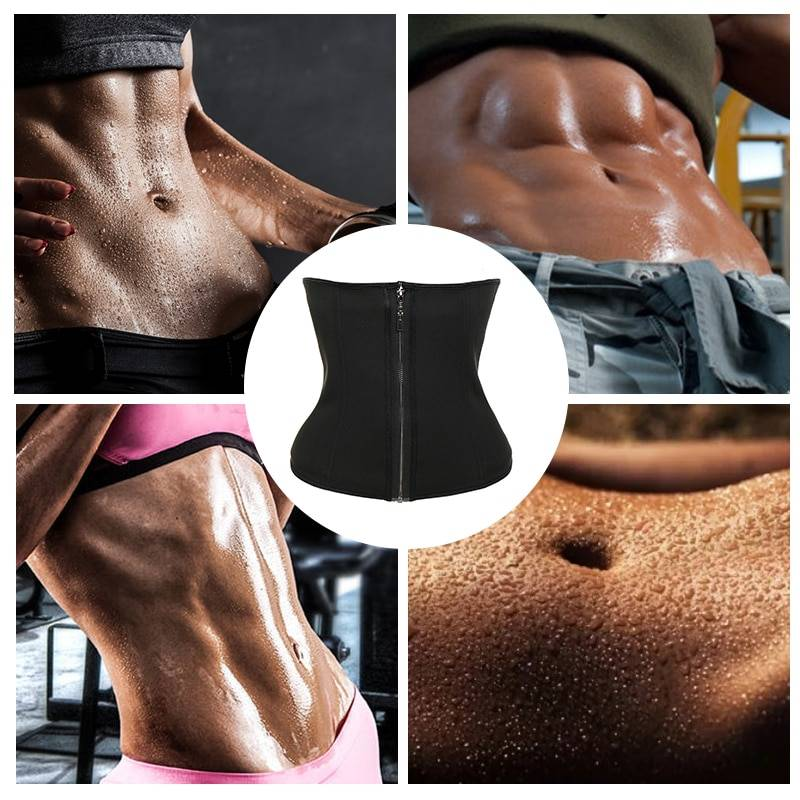 VASLANDA Neoprene Sweat Sauna Waist Trimmer Belt Body Shaper Abdominal Trainer Corset Fat Burning Sports Girdles Tummy Control Shapewear Straps Modeling Workout Fajas Colombianas Postpartum Recovery S