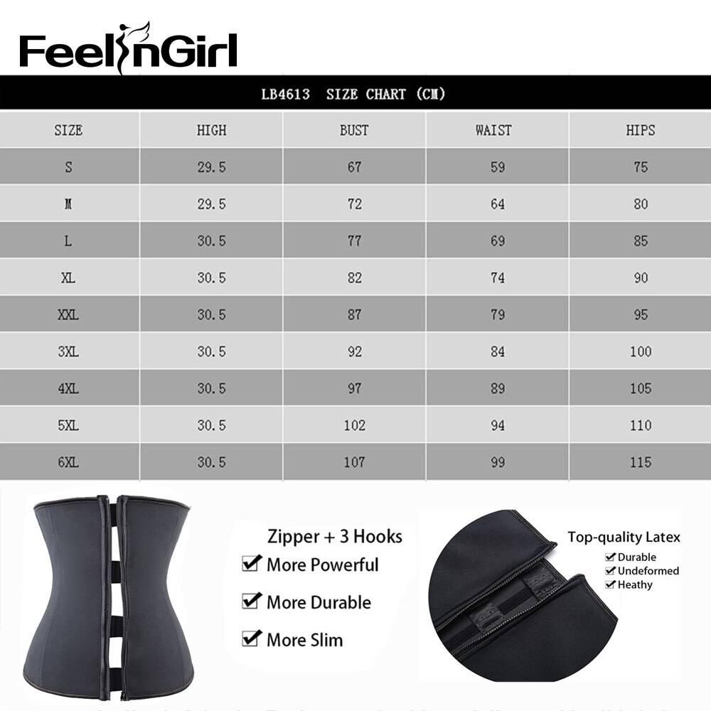 FeelinGirl Hook Zipper Rubber Latex Waist Trainer Sexy Corsets and Bustiers Waist Cincher Corset Tops Slimming Shapewear Women