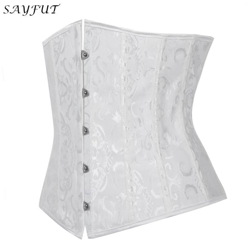 Women Boned Corselet Jacquard Slim Waist Trainer Corsets Bustiers Underbust Tummy Cincher Black/White/Red Shapewear