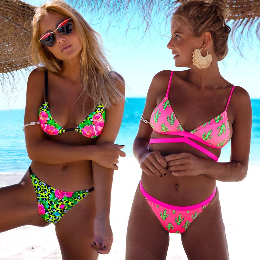 2020 Female Halter Bathing Suit Beach Wear Print Bikinis Women Swimsuit Swimwear