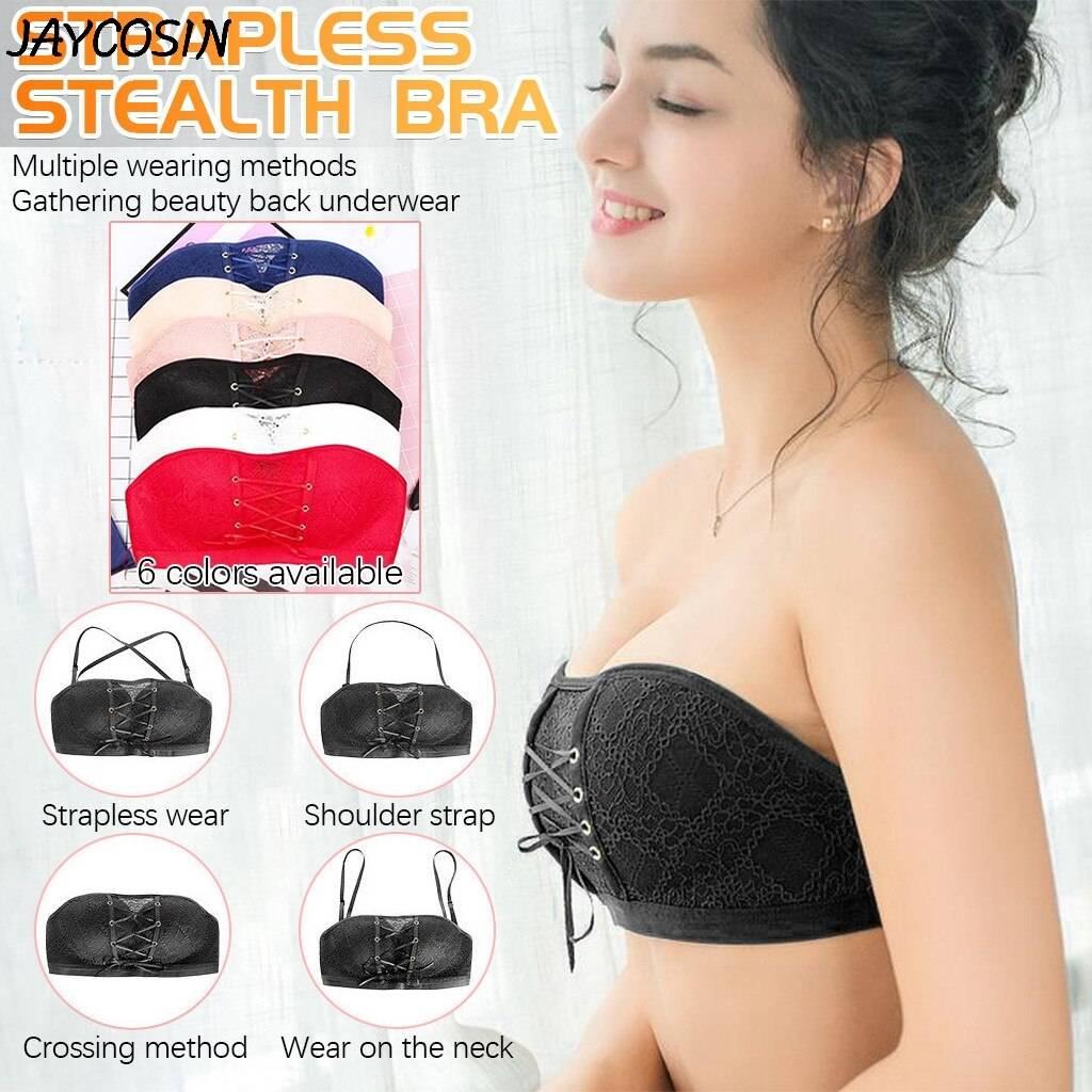 VIP Women Underwear Lingerie Strapless Bra Wire Free Bra for Wedding Dress Push Up Lace Invisible Bra Brassiere Tira Underwear