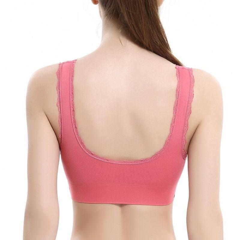EFINNY Solid Color Sexy Lingerie Women Lace Cross Side Buckle Wireless Push Up Sports Underwear Breathable Sleep Bra