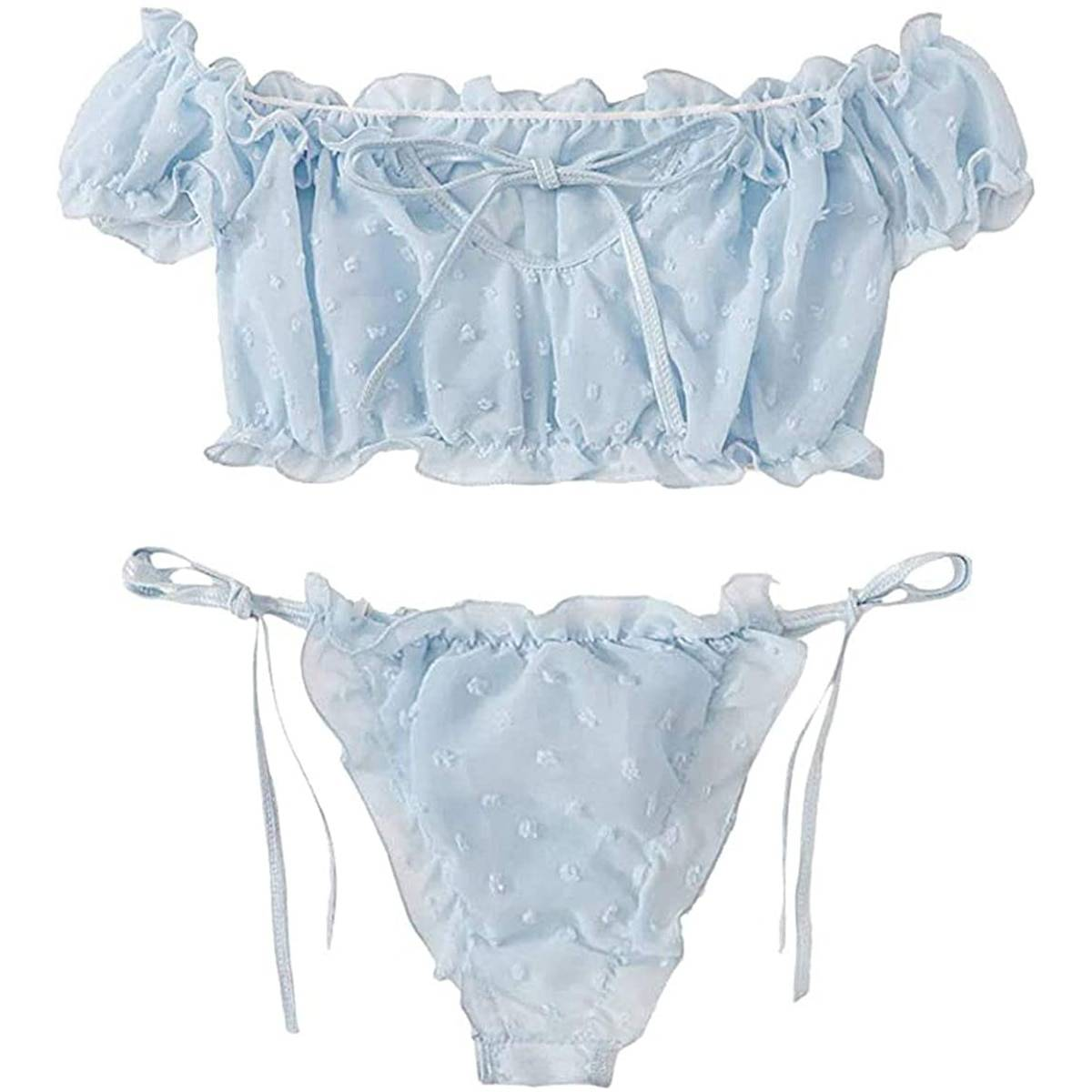 Summer Women Sexy Off Shoulder Lace Up Swimsuits Erotic Hot Lingerie Underwear Set Swimsuits Bathing Bikini Suit Plus Size