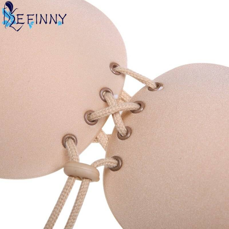 Newest Women Fly Lace-up Printing Underwear Fashion Silicone Adhesive Stick On Gel Push Up Bra Backless Invisible Intimates