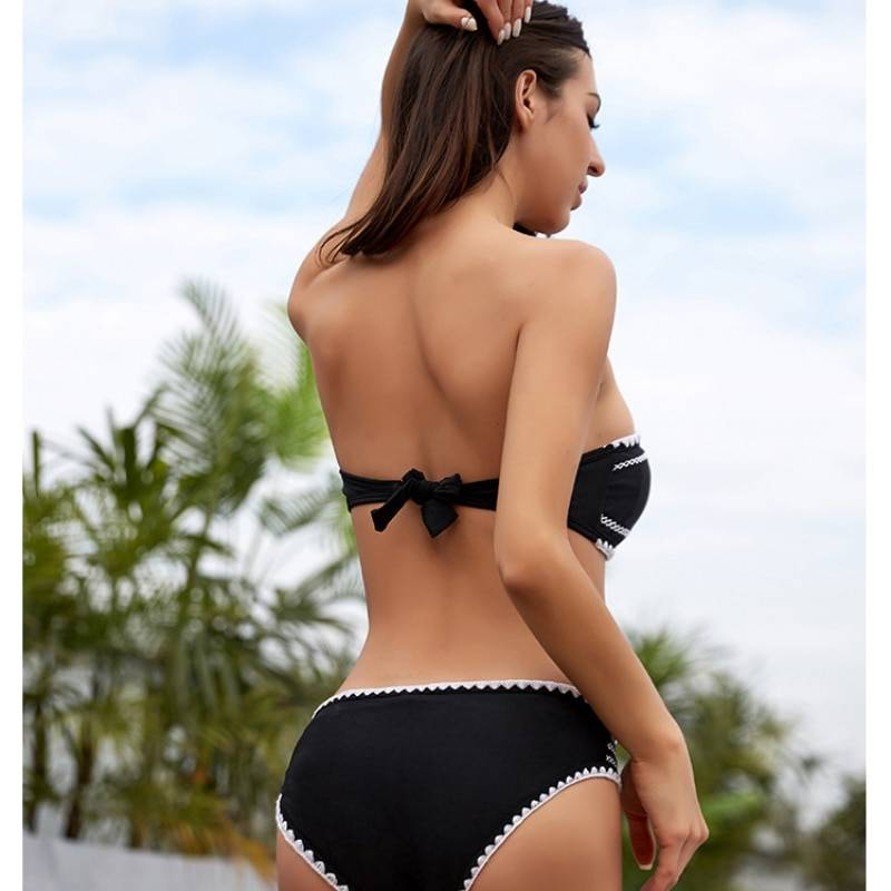 New crocheted shell sexy solid color European and American Spanish women split bikini swimsuit