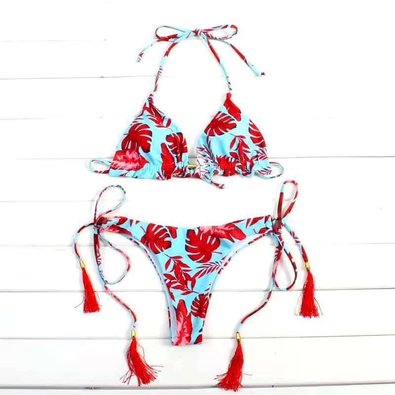 Spain Halter Neck Tassel Women Strappy Bandage Swimsuit Beachwear Sizes S to L