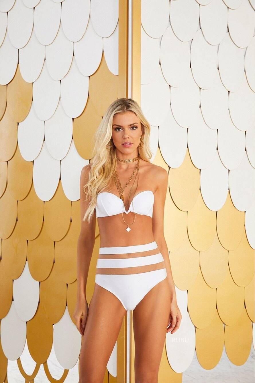 Shoulder Bikini Set Solid Color Swimwear Beachwear Women High Waist Bikini Swimwear Sexy Mesh Push Up Swimwear Off