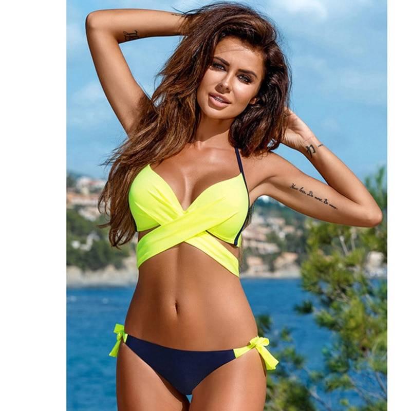 Explosive swimsuit cross-breasted tube top hard bag bikini European and American candy color plus size swimwear