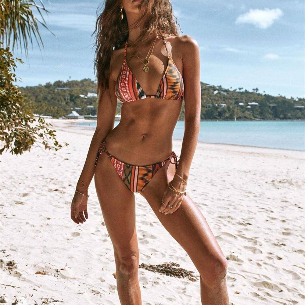 2021 Brazilian Beachwear Women High Waist Bandage Bikini Sexy Bathing Suit Print Bikini Set Bathing Suit