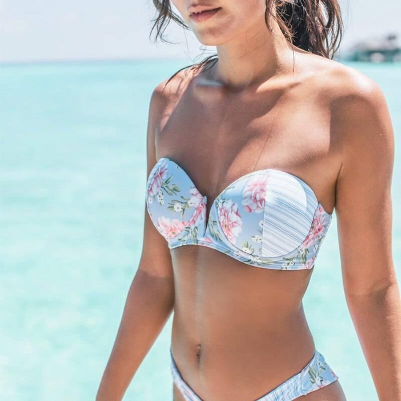 2021  Bathing Suit Beachwear Summer Bikini Floral Polka Dot Bikinis Women Sexy Push-Up Swimsuit Patchwork Openwork