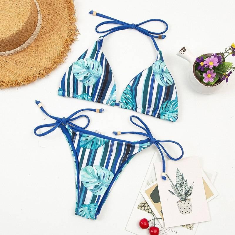 Shell Tassel Bikini Set Beach Bikini  2021 Women Halter Neck Print Swimsuit Strappy Bathing Suit Sexy