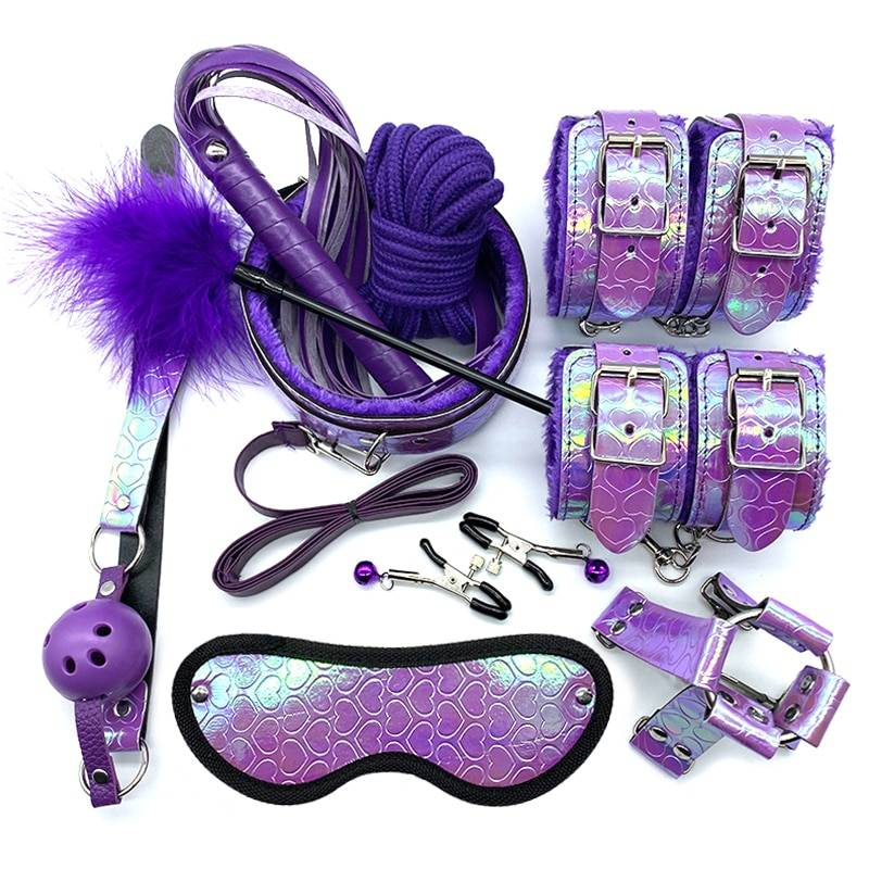 SMLOVE  Sex Handcuffs Nipple Clamps Rope BDSM Bondage Set Dazzling Feather Erotic Sex Toys Whip Collar Gag For Couples Women